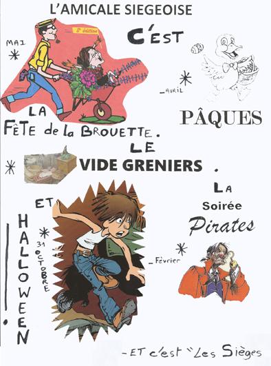 Affiche des animations proposées tout au long de l'année aux Sièges.
