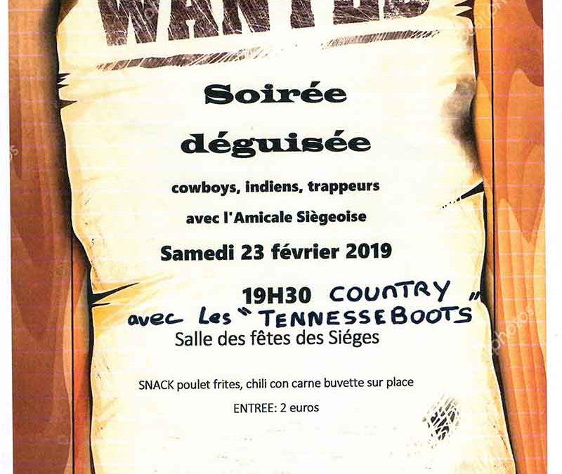 """Affiche de la soirée déguisée aux Sièges. Le Far west avec les """"Tennesseboots"""""""